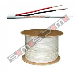 Bobina de 100 m cable combinado Micro RG-59 + alimentación