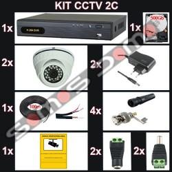 Kit videovigilancia 2 cámaras domo