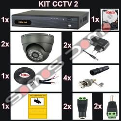 Kit videovigilancia 2 cámaras variofocales domo