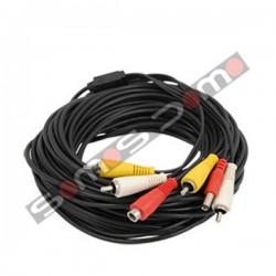Cable RCA para cámaras de CCTV audio, video y alimentación. 10 m