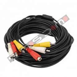 Cable RCA para cámaras de CCTV audio, video y alimentación. 20 m