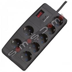Regleta de 7 enchufes supresora de picos de tensión + Protección telefónica