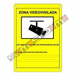 Placa de Zona Videovigilada plástico para interior/exterior.Homologada según normativa vigente
